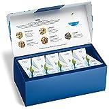 Tea Forté BLEU Presentation Box Tea Sampler, Assorted Variety Tea Box, 20 Handcrafted Pyramid Tea Infuser Bags – Blue Herbal Tea