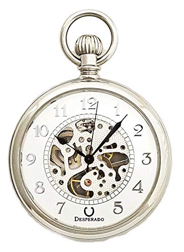 - Desperado Chrome Plated Wind Up Mechanical Pocket Watch with Skeleton 17 Jewel Movement, Arabic Numerals
