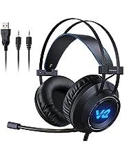 Vehemo Cascos Gaming Auriculares Profesionales Headset para PS4 PC Xbox One Mac Cancelación de Ruido con Micrófono Luz LED Estéreo Juego