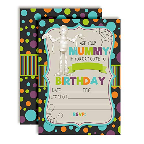 Cute & Funny Ask Your Mummy Halloween Birthday Party Invitations, 20 5