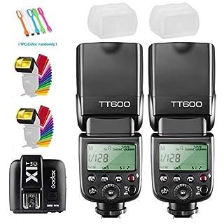 Godox 2X TT600 High Speed Sync 2.4G Wireless Camera Flash Speedlite with Godox X1T-C Remote Trigger Transmitter Compatible for Canon Camera& 2xDiffuser & CONXTRUE USB LED