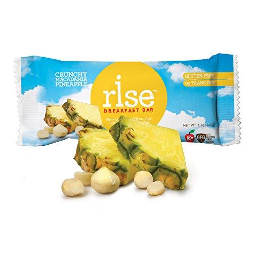 Bar Pineapple - Rise Bar Non-GMO, Gluten-Free Breakfast Bars, Crunchy Macadamia Pineapple, 12-Count
