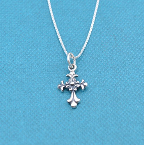 Little girl's Scrolled Cross necklace in sterling silver on a 14 inch sterling silver Box chain w/2 inch extender. Little girls jewelry. Christian Childrens jewelry.