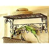 Shabby perchero de pared percha soporte estante de metal retro vintage antiguo brownF Retro Vintage Antiguo Marrón