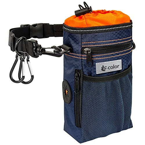 Inner Training - F-color Dog Treat Pouch for Training, Large Capacity Waterproof Pet Dog Training Pouch Walking Bag with Drawstring Inner, Poop Bag Dispenser, 2 Metal Clips, Adjustable Waist Belt or Shoulder Strap
