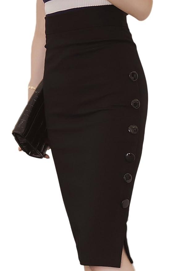 c684917f86e Vemubapis Les Femmes Élégantes Haute Taille Asymétrie Trancher Mi -  Longueur Bodycon Jupe Crayon  Amazon.fr  Vêtements et accessoires