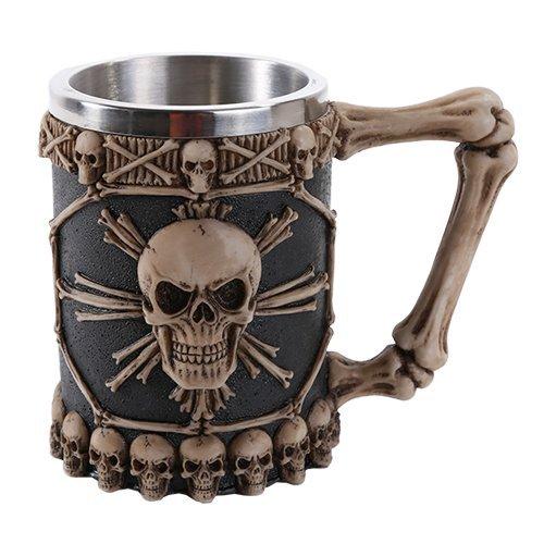 Tribal Skull Ossuary Skull Beer Mug Stein Tankard