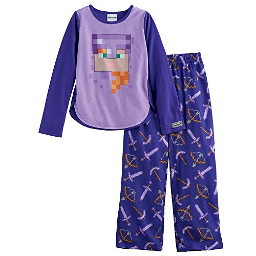 Price comparison product image Minecraft Girl's Size 12 Armored Alex Long-Sleeved Pajama Pants Set