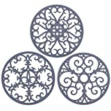 Non Slip Silicone Carved Trivet Mats Set For Dishes Pot Holders- Heat Resistant Coasters-Modern Kitchen Hot Pads For Pots & Pans | (Round, Set of 3, Grey)