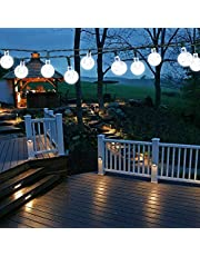 Solarny łańcuch świetlny na zewnątrz, 50 diod LED 7 m, łańcuch świetlny do użytku na zewnątrz, odporny na warunki atmosferyczne, 8 trybów pracy, do użytku wewnątrz i na zewnątrz, do ogrodu, na drzewa, Boże Narodzenie, wesela, imprezy (czysta biel)