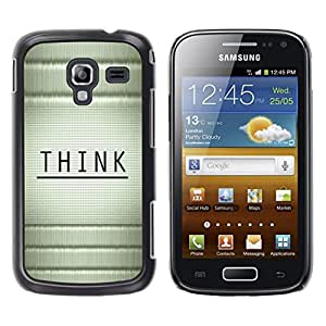 TopCaseStore / la caja del caucho duro de la cubierta de protección de la piel - Think Wood Bamboo Black Message - Samsung Galaxy Ace 2 I8160 Ace II X S7560M