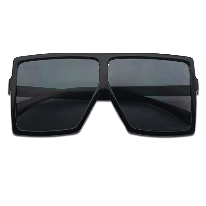 7ad8835d06c Big XL Large Oversized Super Flat Top Square Two Tone Color Fashion  Sunglasses (Black