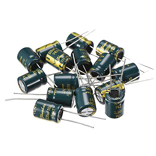 - uxcell Aluminum Radial Electrolytic Capacitor Low ESR Green with 220UF 50V 105 Celsius Life 3000H 10 x 13 mm High Ripple Current,Low Impedance 15pcs