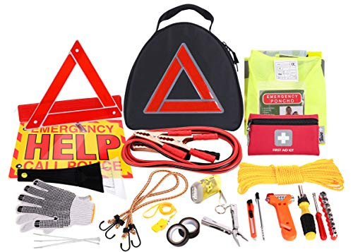 Thrive Roadside Assistance Auto Emergency Kit + First Aid Kit - Triangle Bag - Contains Jumper Cables, Tools, Reflective Safety Triangle and More. Ideal Winter Accessory for Your car, Truck, Camper