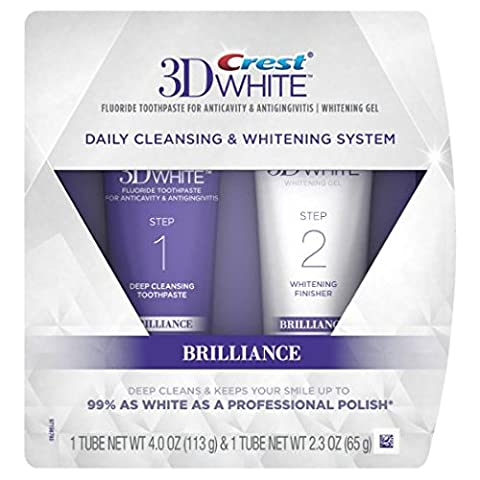 Crest 3D White Brilliance 2 Step Daily Cleansing Toothpaste and Whitening Gel System (Pack of 2) - 2 Step System