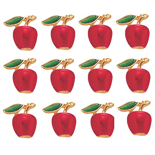 - 1/2 inch Red Apple Lapel Pin - Package of 12, Poly Bagged