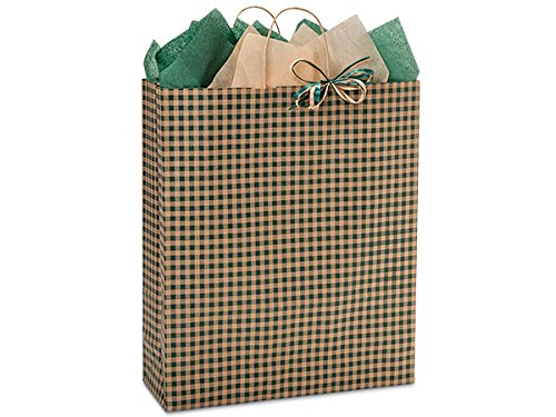 Pack Of 200, Queen 16 x 6 x 19'' Hunter Gingham Kraft Paper Shopping Bags Made In USA for Christmas & year-round packaging by Generic