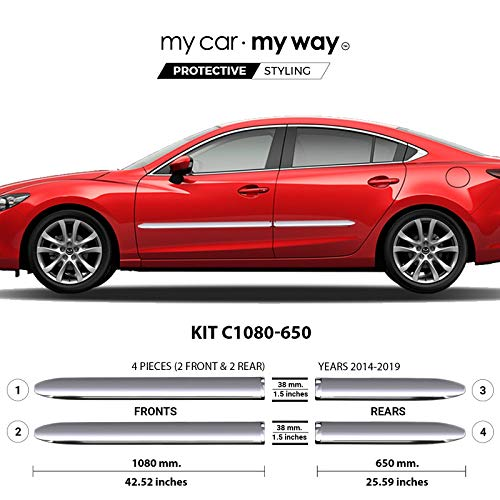 MY CAR MY WAY (Fits) Mazda 6 Sedan 2014-2019 Chrome Body Side Molding Cover Trim Door Protector