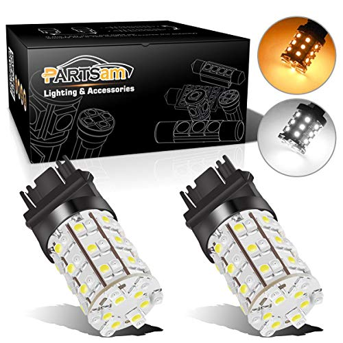 Partsam 2X 3157 3357 3457 Switchback Amber White Front Turn Signal LED Light 60 Epistar LED Bulb High Bright Turn Signal Light