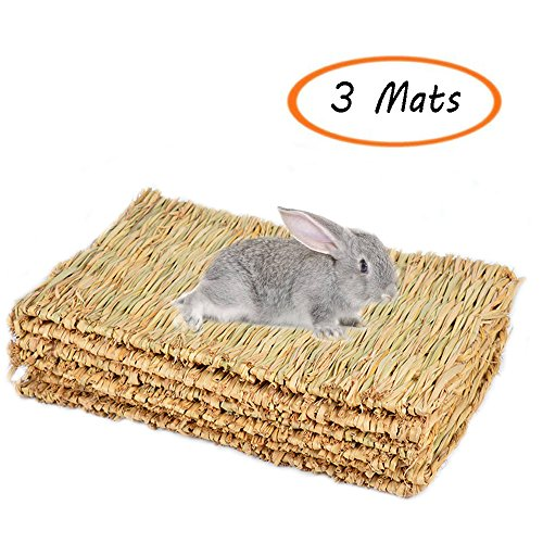 Grass Mat Woven Bed Mat for Small Animal Bunny Bedding Nest Chew Toy Bed Play Toy for Guinea Pig Parrot Rabbit Bunny Hamster Rat(Pack of 3) (3 Grass mats) ()