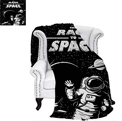 - Homedecor Astronaut Travel Blanket The Race to Space Retro Image with Space Crafts Planets Astronaut vs Cosmonauts Dog Blanket 62 x 60 inch Black White