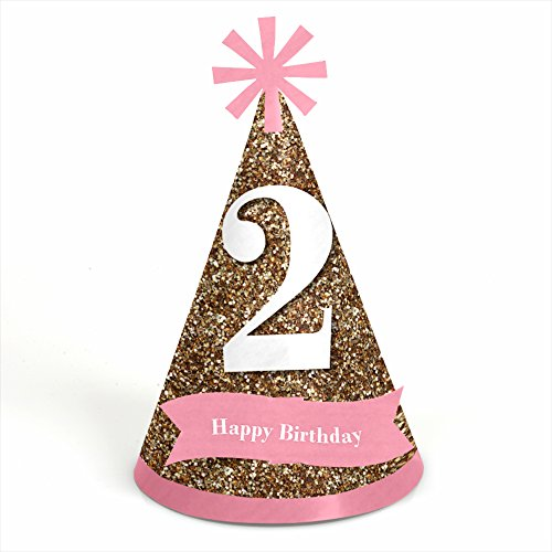 Two Much Fun - Girl - 2nd Birthday - Cone Party Hats - 8 Count