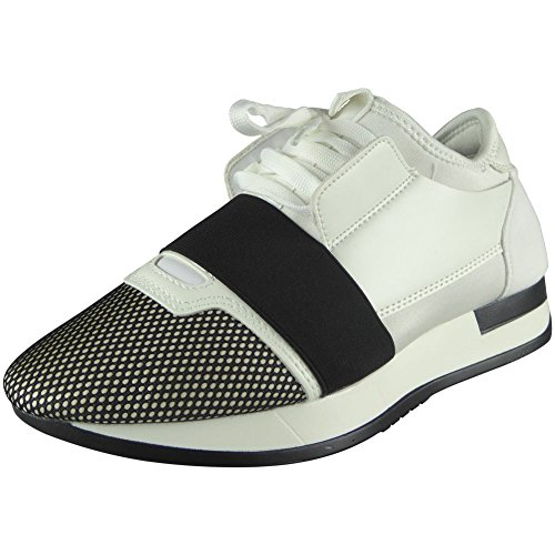 Ladies Running Fitness Gym Sports Lace Up Shoes 3-8 White/Black