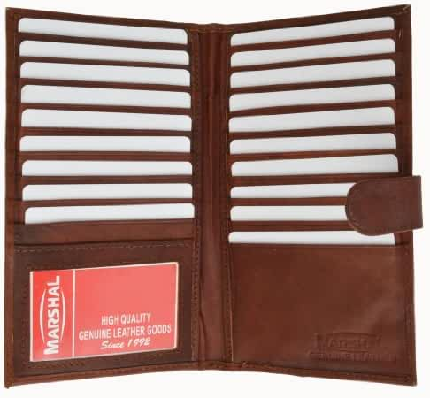 Marshal Genuine Leather Bi-fold Card Holder #1629CF Burgundy