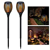 Solar Outdoor Torches Lights, YUNLIGHTS Dancing Flames Patio Torches Waterproof with 96 LED Dusk to Dawn Auto On/Off Décor for Garden Patio Deck Yard Driveway (2 Pack)