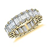 NYC Sterling Women Cubic Zirconia .925 Silver 4X6 Emerald Shape Eternity Band (9)