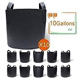 Gardzen 10-Pack 10 Gallon Grow Bags, Aeration Fabric Pots with Handles