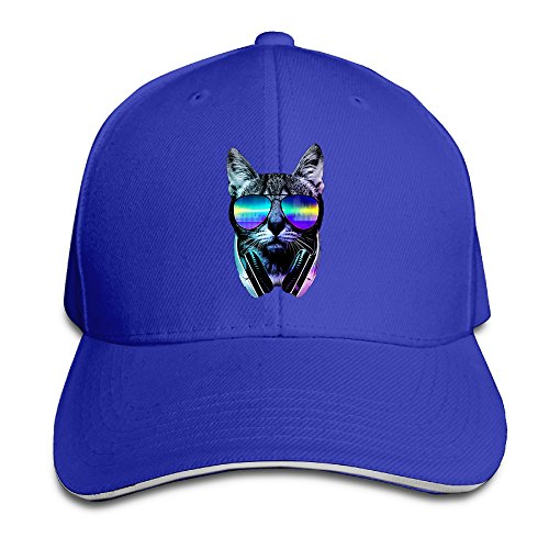 Style DJ Cat With Glasses Snapback Hats RoyalBlue Sandwich Peaked Cap (Caps Controller Dj)