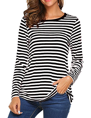 OURS Women's Round Neck Long Sleeve Basic T-Shirt Striped Shirts Tunic Top Blouse (XXL, Black) for $<!--$14.99-->