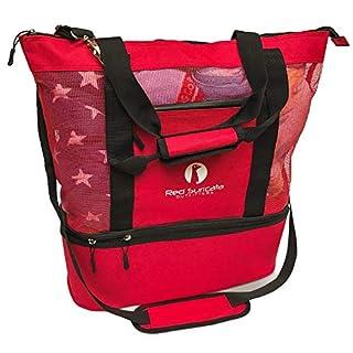 Red Suricata Mesh Beach Bag Cooler - Beach Tote with Leak-proof Rigid Cooler – Beach Bags for Women & Men (Blue)