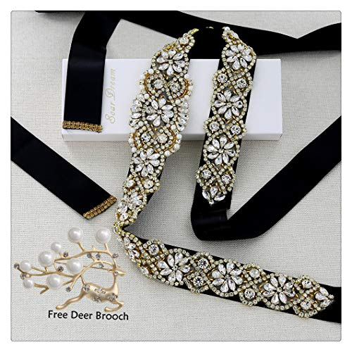 Gold Brooch Ribbon (Black Bridal Dress Sashes Gold Crystal Applique with Clear Rhinestones and A Beautiful Brooch for Wedding Bridal Beaded Applique)
