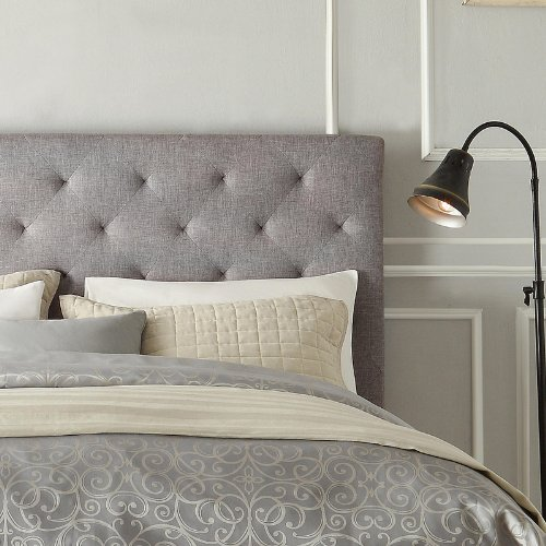 Amazon.com - Modern Diamond Gray Button Tufted Upholstered Padded Square  Queen Platform Bed with Headboard - Includes Modhaus Living Pen -
