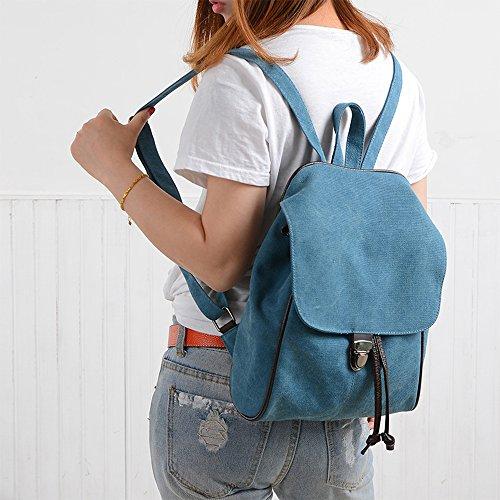 BYD - Mujeres School Bag Bolsos mochila Bolsa de viaje Canvas Bag Carteras de mano Bolsos bandolera with Mutil Function Pocket and 1 Lock Clap Azul