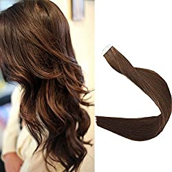 Full Shine 16 inch 50g Medium Brown Color #4 Tape in Human Hair Skin Weft Double Side Tape in Hair Extensions Seamless Skin Weft Silkly Straight Hair Extensions