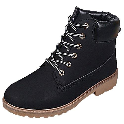 Inverno Rotonda Cavaliere Nero Punta Minetom Lace Boots Autunno Neve Snow Antiscivolo Stivali Up Donna IxnnOw7