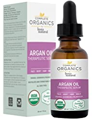 Argan Oil Therapeutic Serum - Nourishing Organic Facial and Body Care with Orange, Geranium, and Palmarosa Essential Oils - Balances, Soothes and Replenishes - Complete Organics by InstaNatural - 1 OZ