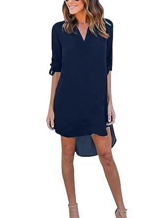 6509ac48938e Yidarton Damen Tunika Chiffon Blusen Sommer Oberteile Kleider Casual  V-Ausschnitt Dünne Langarm Loose Shirt Longshirt  Amazon.de  Bekleidung