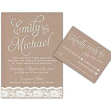 100 Wedding Invitations Lace Rustic Design + Envelopes + Response Cards Set