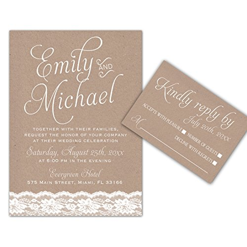 100 Wedding Invitations Lace Rustic Design + Envelopes + Response Cards (Rustic Wedding Invitation Kits)