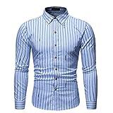 SNOWSONG Mens Novelty Striped Shirts Long Sleeve T-Shirt Casual Slim Fit Dress Shirts Blue