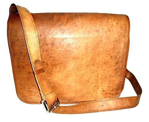 New Handmade Rustic 15 Goat Leather Flap Satchel Laptop Bag Messenger Bag