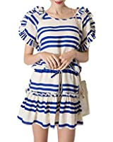 Purpura Erizo Womens Flounce Sleeve Drawstring Stripes Dress