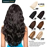 GEELOOK Clip in Hair Extensions 20' Double Weft 100% Remy Human Hair Grade 7A Quality Thick Long Soft Silky Straight 4pcs 10clips for Women 70grams Natural Black #1B Color