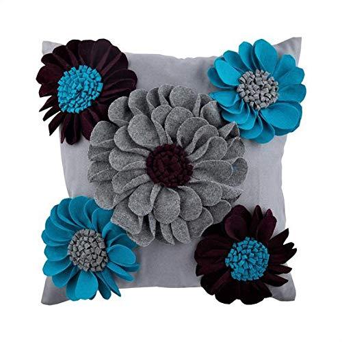 Azul Cubierta De Cojines Decorativos, 3D Fieltro Flor De La ...