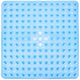 SUDAGEN Square Shower Mat Non Slip Bath Mat with Drain Hole Machine Washable for Shower Stalls 21 x 21 Inch (Glay) ...