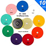 ADVcer Wet Diamond Polishing Pads Set, 4' 10 Pads 50 to 3000 Grit with Hook and Loop Backing Holder Disc - Ideal Buffing Kit for Granite Concrete Marble Stone Countertop Tile Floor Grinder or Polisher